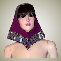 1960's Space Age Helmet Hat with Cut-Out Opening/Hole and Multi-Colored Glass Stones by Adolfo