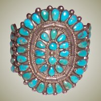 Older Native American Indian Turquoise Cluster Cuff Bracelet-Mid-Century