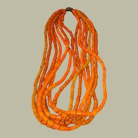 Authentic Large Orange Tile Beaded Necklace from the Konyak Tribe of Nagaland