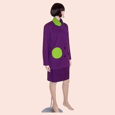 """Violet and Chartreuse Woolen Suit by """"Arabella Pollen"""""""