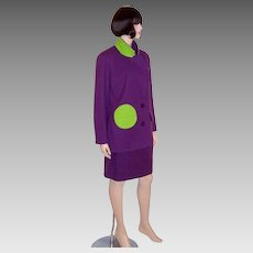 "Violet and Chartreuse Woolen Suit by ""Arabella Pollen"""