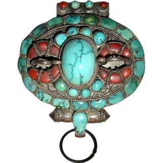 Antique Tibetan Gau/ Prayer/Reliquary Box Pendant-Turquoise and Coral Stones on Silver
