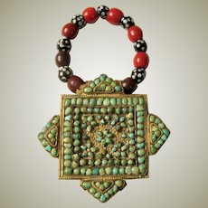 Antique Tibetan Metal Gau with Turquoise Stones and Beads