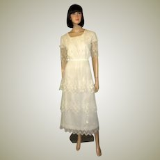 White Edwardian Tea Gown on Fine Netting with Tiered Skirt and Delicate Embroidery