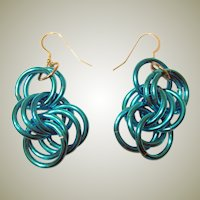 1980's Turquoise Brushed Aluminum Hooped Dangle Earrings for Pierced Ears