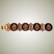 """""""Art""""-Gold-Toned and Black Bracelet with Medallions"""