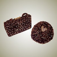 Rich Brown Velvet Hand Bag and Matching Chapeau