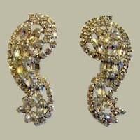 Large, Impressive, and Brilliant Clear Rhinestone Clip-On Earrings