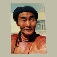 Original Colored Photograph-Ethnographic Portrait of Poised Tibetan/Mongolian Gentleman by Bernard Levere