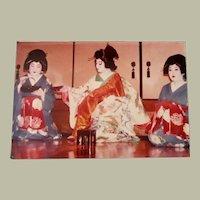 Original Colored Photograph/Ethnographic Interior Scene of Geisha Girls Performing a Japanese Tea Ceremony by Bernard Levere