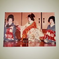 Original Colored Photograph/Ethnographic Interior Scene of Geisha Girls Performing a Japanese Tea Ceremony by Bernard Levere