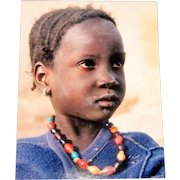 Original Colored Ethnographic Portrait of Precious African Child by Bernard Levere