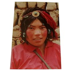 Original Colored Photograph-Ethnographic Portrait of Lovely Tibetan Girl by Bernard Levere