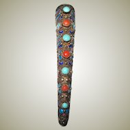 Chinese Vermeil Finger Guard Brooch with Turquoise and Coral Stones and Enamel Work