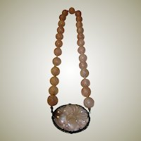 Antique Chinese Rose Quartz Carved Beaded Necklace in Original Estate Found Condition