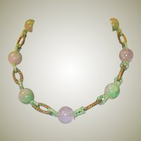 Antique Chinese Rose Quartz and Colored Quartz Necklace with Gold-Toned Oval Connectors