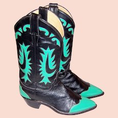 Justin Cowboy Boots-Black & Viridian Green with a Pointed Toe