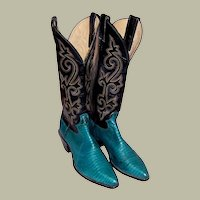 Justin Cowboy Boots, Turquoise Lizard & Black Leather