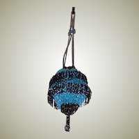 1920's Vintage, Black and Turquoise Glass Beaded, Draw-stringed Purse, Made in Czechoslovakia