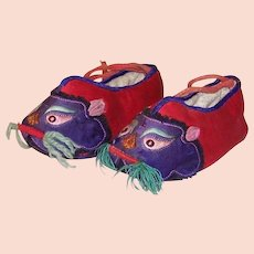 Chinese Purple & Red Embroidered Animal Baby Shoes (1890-1900)