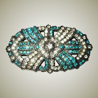 Brilliant Turquoise and Clear Paste Czechoslovakian Brooch