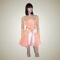 Alice + Olivia-Peach Sorbet Silk Strapless Baby Doll Party Dress