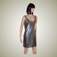 Silvery Blue Metallic Aluminum Shift Dress