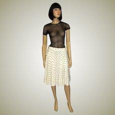 Christian Dior White and Black Polka Dotted Skirt
