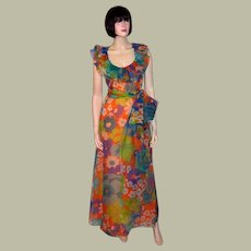 1960's Christian Dior Floral Printed Gown for Saks Fifth Avenue-Paris and New York-