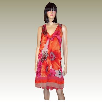 Floral Printed Ensemble in Cerise, Red, and Orange