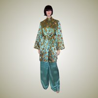 Luxurious Mint Green and Gold Chinese Lounging Ensemble