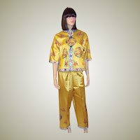 1960's Vintage Chinese Silk Hand-Embroidered Jacket & Pants Ensemble