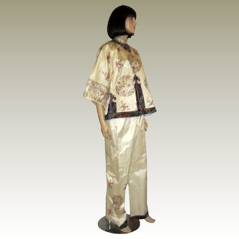 White Chinese Embroidered Jacket and Pants Set
