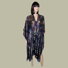 Black Evening Shawl with Stylized Floral Designs in Metallic Threads