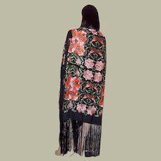 Chinese Embroidered Shawl with Pink and Apricot  Florals on Black Background