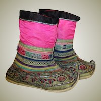 Chinese Children's Embroidered Boots with Curled-Up Toes