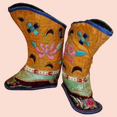 Chinese Children's Orange Silk  Embroidered  Boots