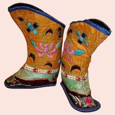 Chinese Children's Orange Silk  Embroidered  Boots