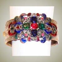 Gorgeous Gold-Toned Hinged Bangle Bracelet with Enamelwork-Czechoslovakia