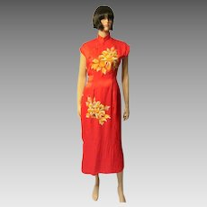 1930's Red Chinese Cheongsam Hand-Embroidered with Peonies