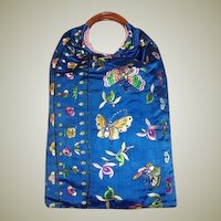 1920's Cornflower Blue Chinese Hand Embroidered Purse with Butterflies