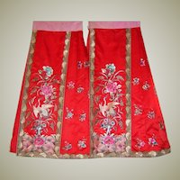 1920's Exquisitely Hand-Embroidered Red Paired Panel Wraparound Skirt