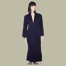 Early Claude Montana Midnight Navy Suit with Modified Train