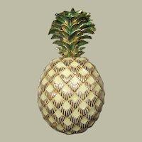 "Impressive ""CINER"" Enameled Pineapple Brooch/Pendant"