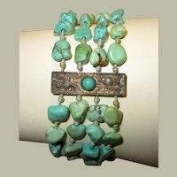 "Chinese Turquoise Beaded and Silver Bracelet, Hallmarked ""Bee, China, and Silver"""