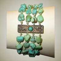 """Chinese Turquoise Beaded and Silver Bracelet, Hallmarked """"Bee, China, and Silver"""""""
