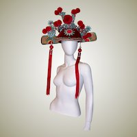 Elaborately Decorated Chinese Theater Hat/Pom-Poms and Faux Pearls