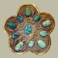 "Impressive Chinese Turquoise and Metal Brooch, Marked ""China"""