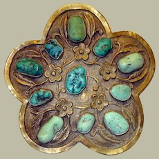 """Impressive Chinese Turquoise and Metal Brooch, Marked """"China"""""""