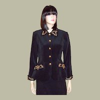 Tadashi Black Blazer with Brass Studs and Embellishments